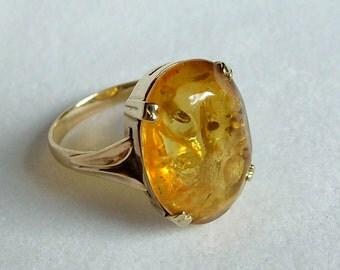 Art Deco Natural Baltic Amber Gold Ring *  Large Amber Gold Ring * Natural Baltic Amber Ring * Baltic Amber Gold Ring * Amber Ring