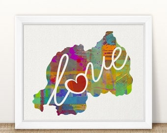 Rwanda Africa Love - Colorful Watercolor Style Wall Art Print & Home Country Map Artwork - Adoption, Moving, Engagement, Wedding Gift