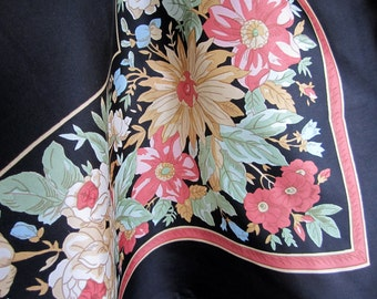 Liberty of London Silk Scarf Vintage Accessory for Women - Black Floral Border Print Design - Made in England