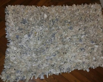 Winter whites and neutrals Hand Made Shaggy Rag Rug 1350mm x 910mm