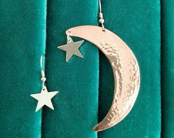 Hammered copper moon and stars earrings