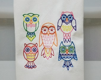 Embroidered Owls/Bright Owls Embroidered Tea Towel