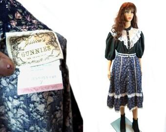 Vtg GUNNE SAX Skirt | Vintage Floral Prairie Cotton Midi | Lace Ruffle Trim Festival Boho Clothing | 70's Button Down XS Jessica McClintock
