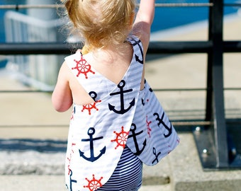 SALE Anchors Away Girls Reversible Pinafore/Top/Dress~Nautical~Anchors~Polka Dots~Summer Outfit~Navy and Red~Size 3 month - 2T~Ready to Ship