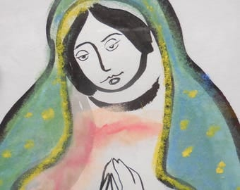 ORIGINAL Virgin of Guadalupe original sumi-e and pastel, gift