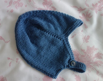 Hand knitted boy's helmet style hat in denim blue double knit with Merino to fit approx 18-24 months