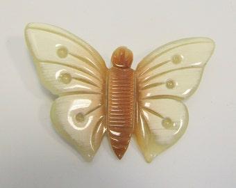 Neutral Plastic Butterfly Brooch