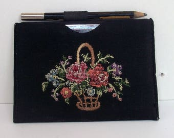 Pocket Mirror with Embroided Pocket and Original Pencil