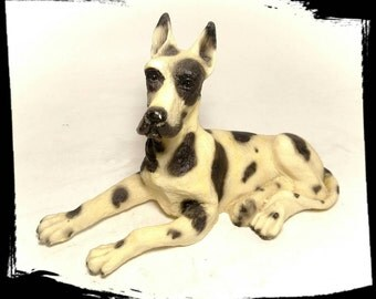 Collectible Pacini CL Harlequin Great Dane Figurine / Collectible Italian Sculpture / Canine Desk Art /Collectible Dog/Best Gift Idea/ F1703