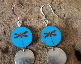 Blue Dragon Fly Earrings
