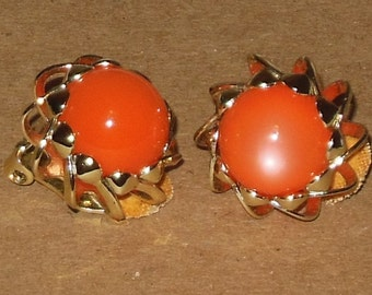 Vintage Clip On Earrings Orange Gold Tone Costume Jewelry