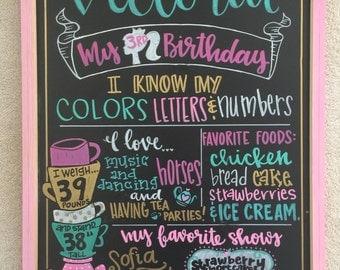 Framed birthday chalkboard favorite things sign
