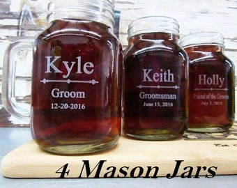 Set Of 4 Personalized Groomsmen Gift Ideas Wedding Party Favors Best Man