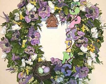 Spring Purple Floral Wreath
