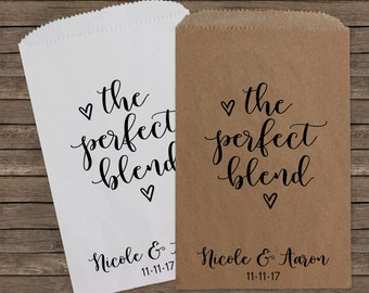 Perfect Blend, Coffee Wedding Favors, Candy Bags, Candy Bar Bags, Rustic Wedding, Coffee Favor, Custom Wedding Favors, Candy Bags, Kraft 200