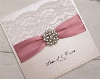 Luxury handmade pearl & lace wedding invitation sample. Wedding invitation sample, lace wedding invites, personalised invitations.
