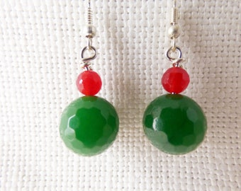 Green and Red Dyed Jade drop earrings