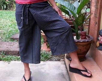 Yoga Fisherman Pants Thai Pants Capri Fisherman Thai Fisherman Pant Wrap Yoga Pants Short Hippie Pants Burning Man Free Shipping*CF-W* black