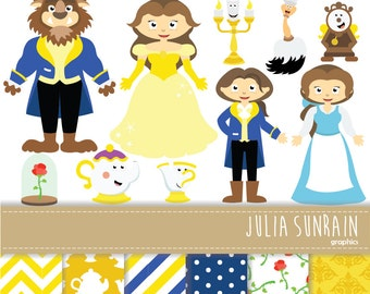 Beauty And The Beast Clipart Vector Digital Scrapbooking Papers Set