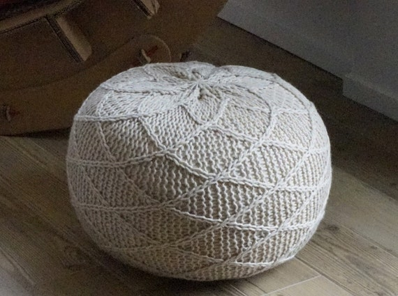 Knitting pattern knitted pouf pattern poof knitting ottoman footstool home decor pillow bean bag - Knitted pouf ottoman pattern ...