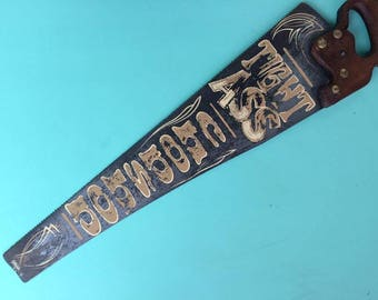 Hand Painted Saw, TIGHTASS CHOP SHOP, weathered