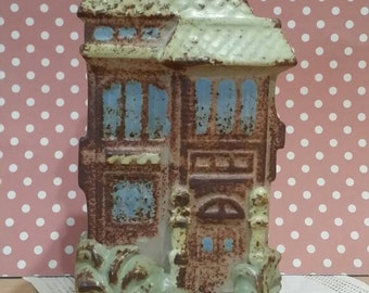 Vintage Stoneware Victorian San Francisco Row House Wall Vase Wall Pocket Made By Counterpoint