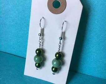 Green Beaded Drop Earrings