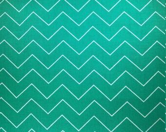 Green chevron, geometric fabric