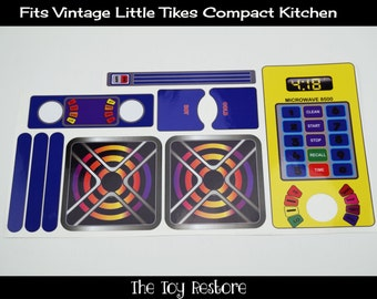 New Replacement Decals Stickers for Vtg Little Tikes Tykes Compact Kitchen, No phone, large Microwave dial
