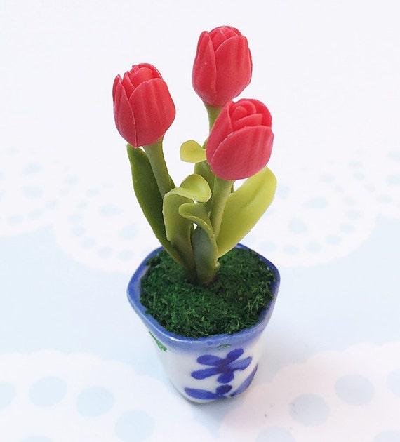 Miniature Flower,Miniature Flower Pot,Miniature Vase,Dollhouse Flower,Miniature Garden,Dollhouse Flower Pot,Miniature Tulip Flower,Dollhouse