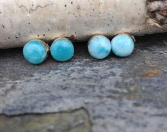 Larimar Stud Earrings / Sterling Silver