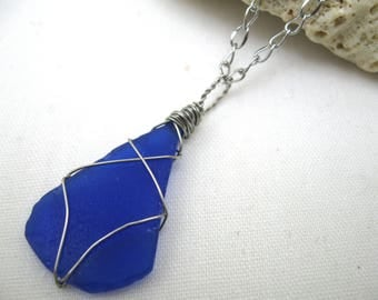 blue sea glass, sea glass necklace, sea glass pendant, blue sea glass, sea glass on silver royal blue sea glass, recycled glass, seaglass
