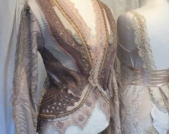 Boho clothing,cottage chic jacket,repurposed crochet, gypsy lace clothing ,hippie inspired ,vintage cardi,handmade cardi,eco friendly