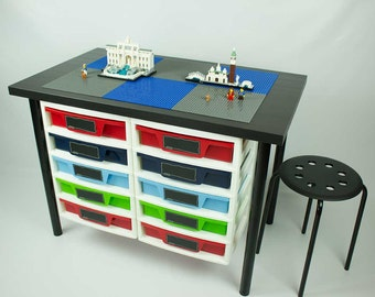 Building Desk with 2 attached 5 drawer storage unit, 20x30 inch building area, 1 Stool