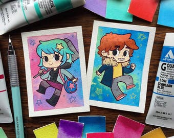 Scott Pilgrim and/or Ramona Flowers Mini ACEO ATC Prints by Michelle Coffee