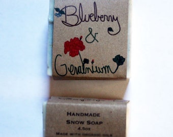 maine blueberry geranium soap / small christmas gift / blueberry geranium soap / hand crafted soap / christmas / natural stocking stuffer