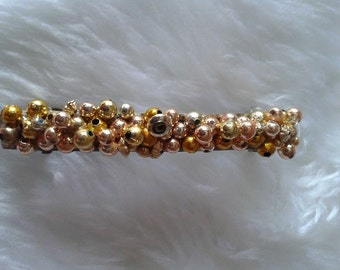 Gold Beaded Sprung Hair Clip