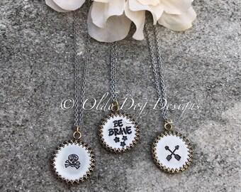 Ornate Crown Framed Stamped Necklace