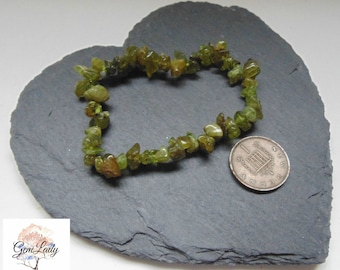 Peridot Chip Bead Beaded Stretch Bracelet ~ Gemstone Crystal Healing ~ Handmade ~ August Birthstone