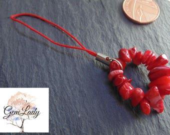 Red Coral Chip Bead Beaded Loop Zip Purse Charm Keyring ~ Gemstone Crystal Healing ~ Unique Gift Handmade