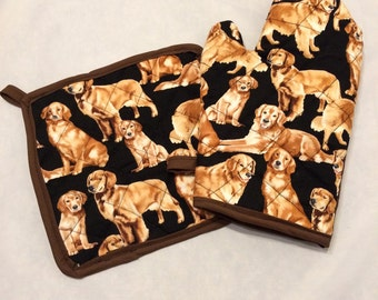 Golden retriever quilted/insulated pot holder and oven mitt set/individual