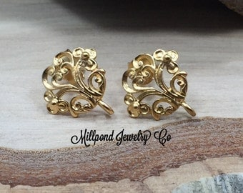 Earring Posts, DIY Earring Posts, Flower Earring Posts, Flower Earrings, Filigree Ear Posts, Gold Plated Sterling Silver, Small