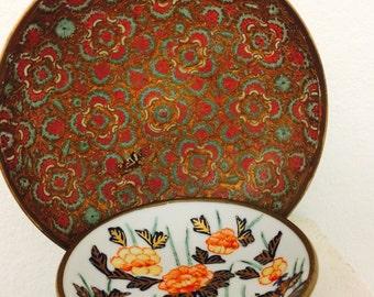 Porcelain Ware Pewter Porcelain Japanese Bowls, Brass Porcelain Bowl, Enamel Brass Bowl, Hong Kong Brass
