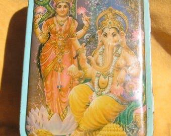 Antique Indian Sweets Tin ... Lakshmi & Ganesh.