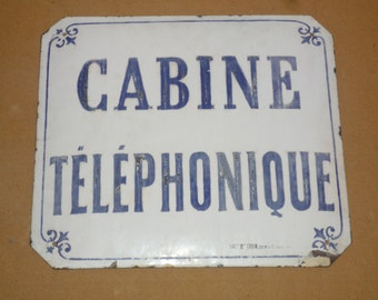Authentic French Enamel Public Telephone Sign Curved Blue and White  1920s 1930s
