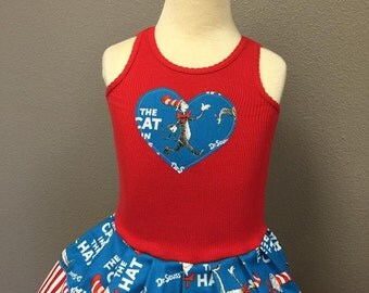 Custom Girls Dress. Made with Dr. Seuss, Cat in the Hat Fabric.
