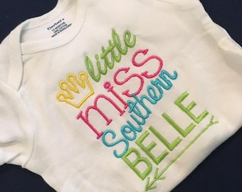 Little Miss Southern Belle Embroidered Onesie or Shirt
