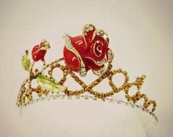 The Beauty And The Beast Princess BELLE ROSE CROWN ,Belle Gold Red Rose Tiara,Belle Crown,Belle Costume Halloween Tiara,Belle Tiara Headband