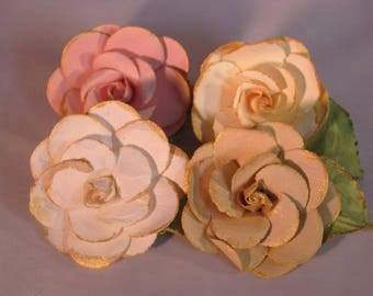 Large Gold Colored Edged 3D Rose Lapel Pin Boutonniere Flower - Everyday / Wedding / Prom