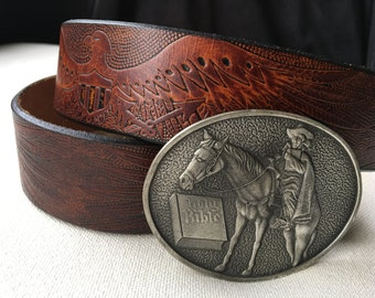 Vintage Hand Stained Latitan Leather Eagle Belt and 1979 Man on Horse Holy Bible Belt Buckle